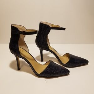 Ann Taylor Katia Leather Ankle Strap Heel -Croc